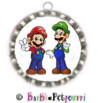 Fancy Pants Fashion Bottle Cap (SILVER) Pet ID Tag ~ Super Mario Brothers