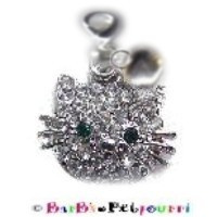 Hello Kitty Petite Rhinestone Charm and Silver Adora-Bell Set