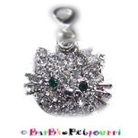 Hello Kitty Petite Swarovski Clear Rhinestone Charm with Green Rhinestone Eyes