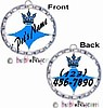 Fancy Pants Fashion Bottle Cap (Silver) Pet ID Tag ~ with Blue Crown - DOUBLE SIDED ARTWORK!