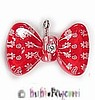 Fancy Pants Fashion Jewelry Red Bow/Bowtie with White Flowers & Rhinestone Center Pet ID Tag ~ Lucit