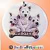 Fancy Pants Cute as a Button ~ Westhighland Terrier (Westie) Trio with Bone ID Tag 